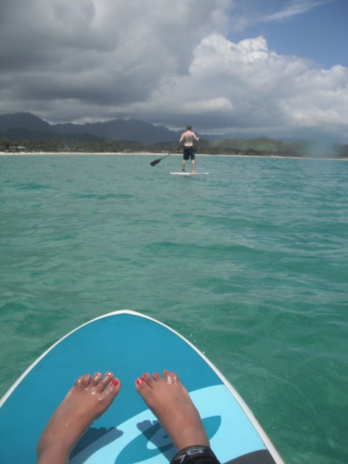 Stand up paddleboarding = hard. Sit down paddleboarding = me. Look at Chris go though, that beautiful pale sea ghost.