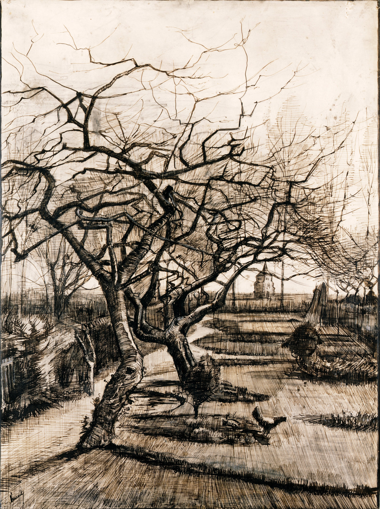 heaveninawildflower:  The Parsonage Garden at Nuenen in Winter (1884). Pen and brown ink, lead white on paper by Vincent van Gogh (1853-1890). Museum of Fine Arts Google Art Project: Home via Wikimedia.