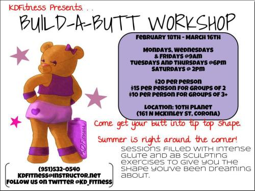 Hey, guys! Here's my Sassy Butt Bear that I designed on the flyer for the workout class! If you're in the Corona, California area you should totally go and have some fun fitness time! And if you do, I would love for you to tell me how it went! <3