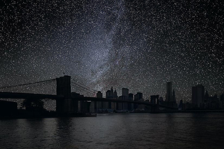 """Darkened Cities, New York's Danziger Gallery, The French photographer Thierry Cohen has turned the lights out in the city to reveal the stunning stars that have always been overhead.In his series ""Darkened Cities,"" Cohen creates a visual reminder of what the world would look like if it were free of light pollution, and asks us to ponder how an increasingly urban society can disconnect us from the natural world. 527 West 23rd Street New York, New York 10011  USA Telephone 212.629.6778"