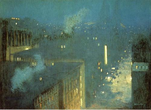 Julian Alden Weir- The Bridge Nocturne / Nocturne, Queensboro Bridge (1910) Oil on canvas; 73.7 x 100.4 cm; Hirshhorn Museum, Washington