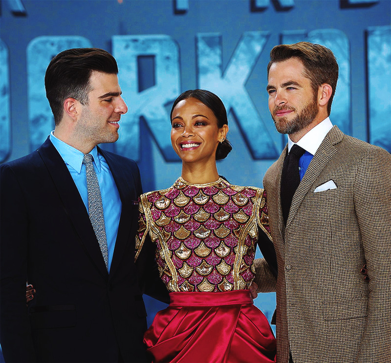 Zachary Quinto, Zoe Saldana, & Chris Pine → Into Darkness Premiere; Berlin, Germany [source]  WHOAAA ZOE'S DRESS whoAAA!!! i just looked it up it's balmain wowwwwwwwwwwwwwwwww unreal i'm gonna look up the rest of the collection