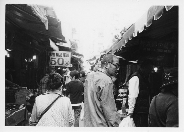 #252 Darkroom print - Looking around in the market on Flickr. Zorki 4, Jupiter 8, Kodak TX400 Arista EDU Ultra RCVC 5x7