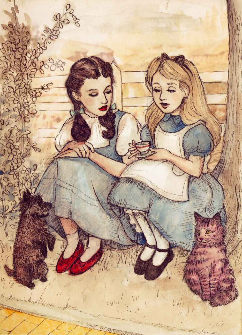 dollychops:  Dorothy and Alice  é hora do chá!