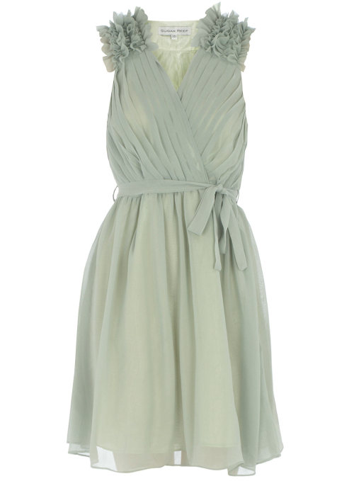 Green Pleat Ruffle Dress by Dorothy Perkins