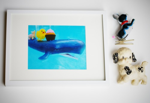 """Day at the pool"" series is now available in 8""x10"".  Yay: the little pig, peeps, whale and Ms. Goody-two-shoes are now available even bigger! Brighten up any room in the house today! Check out the gifted fools shop: http://www.etsy.com/shop/giftedfools"