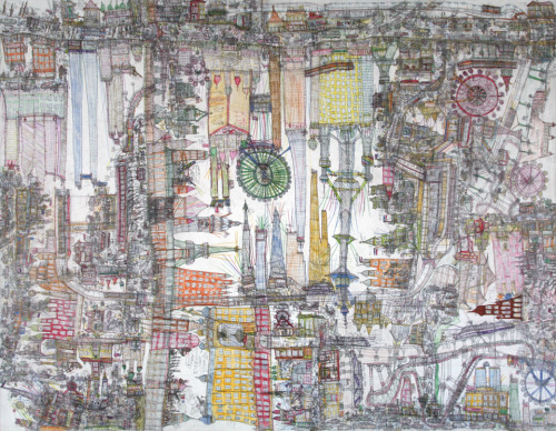 michaelswaney:  Norimitsu Kokubo, The Economically Booming City of Tianjin, China, 2011. pencil, coloured pencil and oil-based marker on watercolour paper; collection of the artist