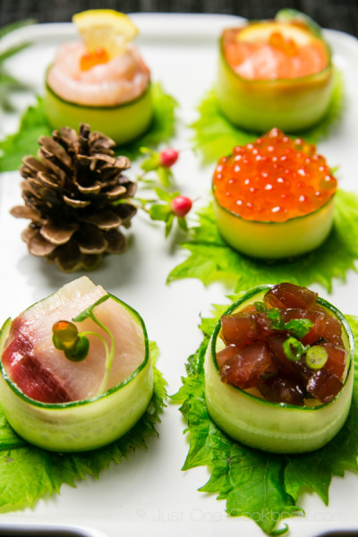Cucumber Wrapped Sushi with recipe (link)