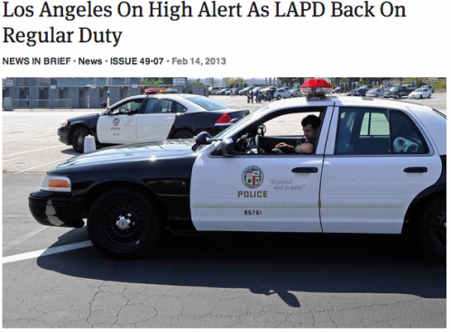 theonion:  Los Angeles On High Alert As LAPD Back On Regular Duty: Full Report