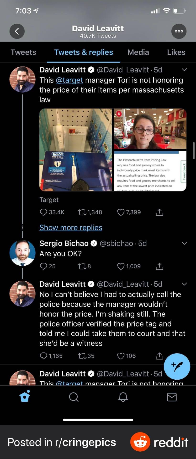Bluecheck Journo David Leavitt has mental breakdown over target not selling him item for 1 cent. Turns out he got dunkin donuts to cough up money for not accepting bills larger than 20$. first seen on https://ift.tt/2Y30N8s #cringe#eep#pics