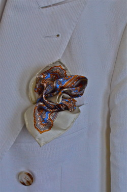 My white linen double-breasted jacket and Hermes Pocket Square. By know you know i like my squares to look like roses