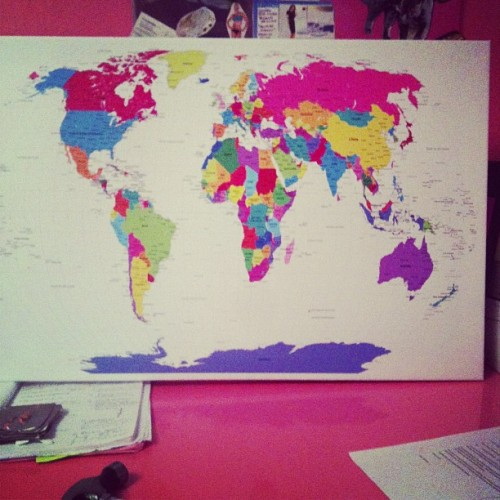 My fabuloud big and colourful world map!!! Beyond excited, planning adventures!
