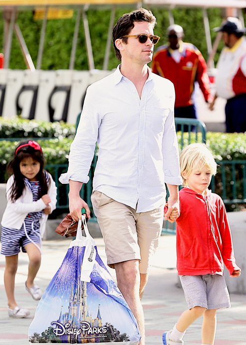Matt Bomer out and about in Anaheim with his partner and kids - April 6th.