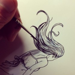 tragicsunshine:  More inking. I like using gouache to ink, mainly because I have so much of it left over from my college days. #process