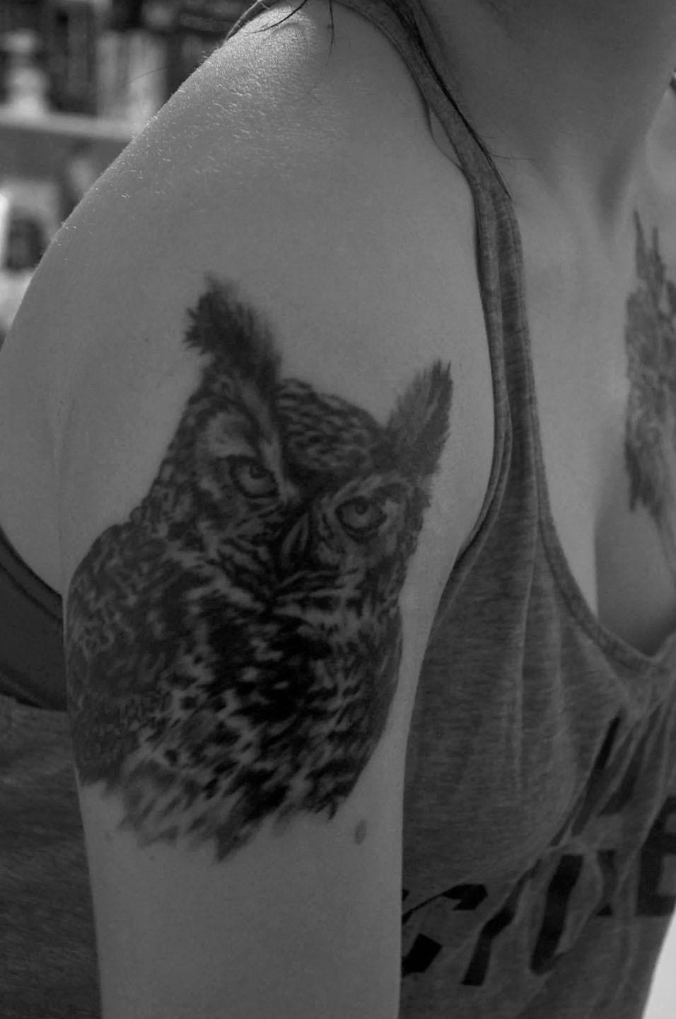 fuckyeahtattoos:  Beautiful owl tattooed by Sami Strange at Mainely Custom Tattoo in Kittery, ME.