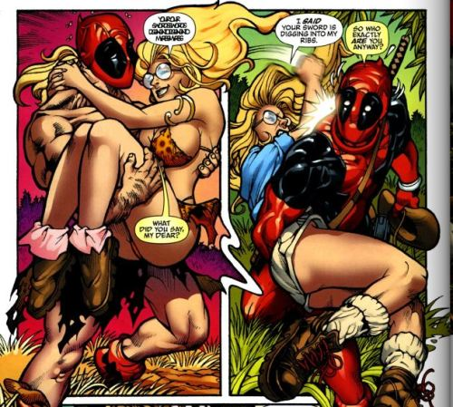Deadpool And Lady Deadpool Porn - [Deadpool is instantly smitten by the conventionally attractive  blond-haired woman who is wearing an extremely impractical skimpy outfit.]