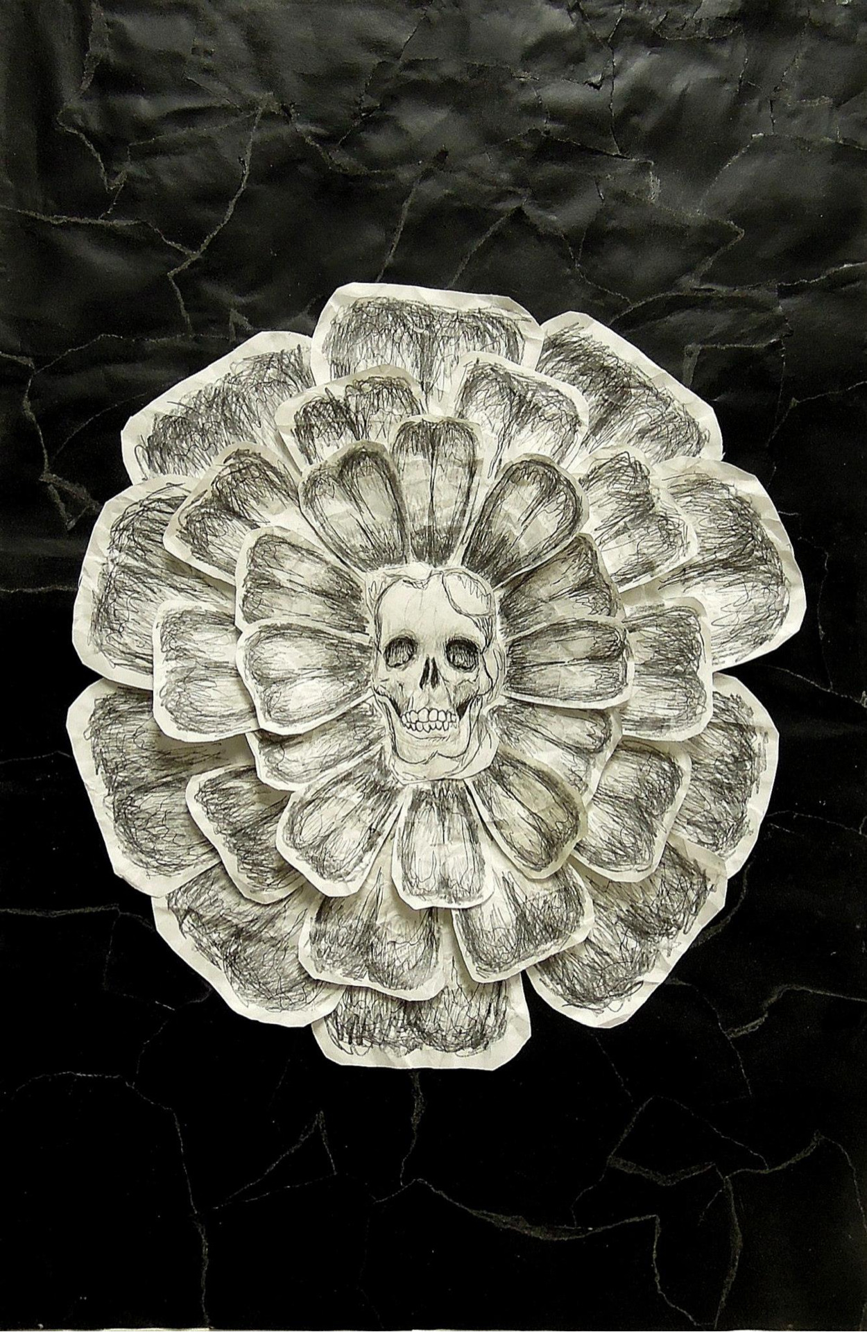 Skull Flower   Mixed Media and collage