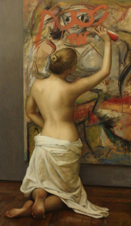 "morethansunshine:  Another Amazing painting by Cesar Santos titled ""Woman with Glasses and Goatee"". Check out the last painting we featured from him here."