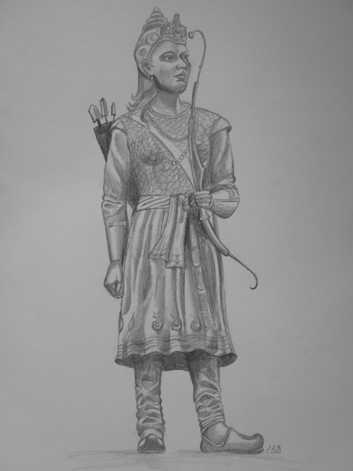 coolchicksfromhistory:  Rani Durgavati (1524-1564) Pencil drawing by Lauren Goldberg (personal tumblr, art tumblr) Rani Durgavati ruled the Gond Kingdom in central India as regent for her son from 1550 to 1564.  In 1562, the Mughal General Asaf Khan attempted to annex Rani's prosperous lands.  Rani personally led her troops into battle and succeeded in defeating the Mughal invaders.  Two years later, Rani attacked the Mughals with the hope of a permanent victory.  Outnumber 20,000 to 50,000, Rani held her ground for two days before she decided to commit suicide rather than surrender.  Her son was killed in battle and the Gond Kingdom fell to the Mughals.   Rani Durgavati Fort in Mandla is open to visitors.  However, it is considered an unsafe place for women to visit.  According to The Times of India, at least two gang rapes were reported at Rani Durgavati Fort in 2012.
