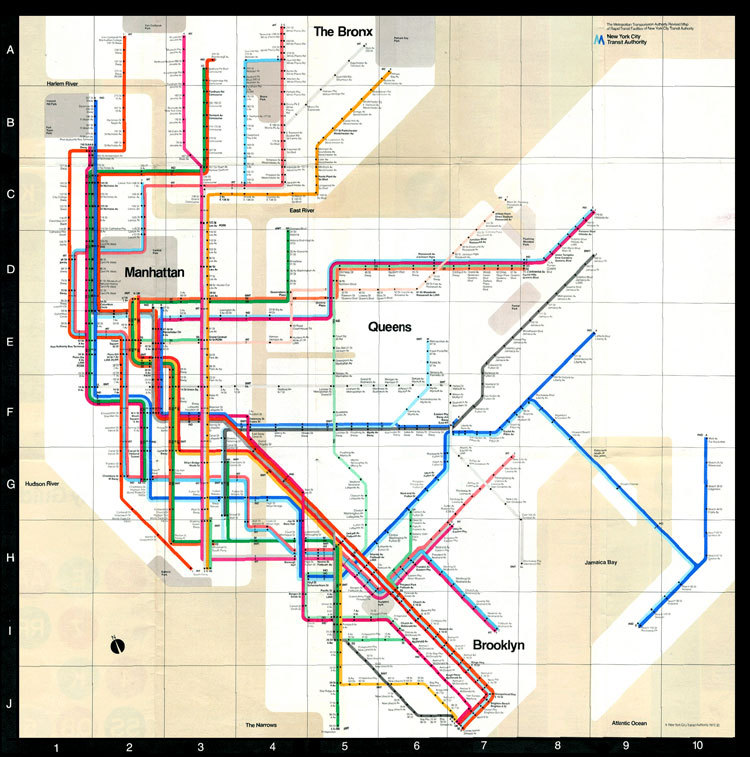More maps! This one is a map of the New York City Subway system done by Massimo Vignelli.