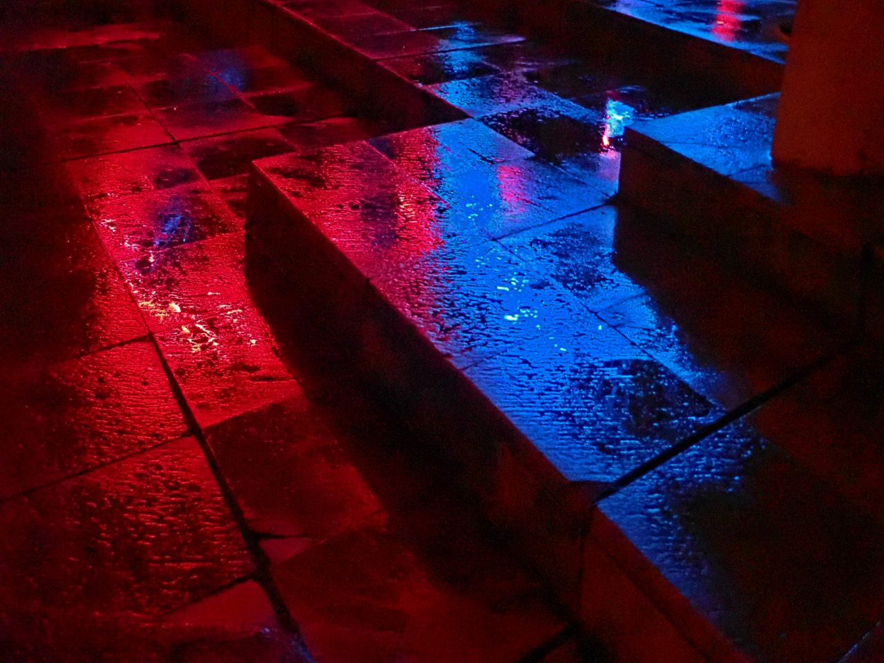 OLDTHER. 19 #photography#neon#reflection#blue#red#water#stone#mywork