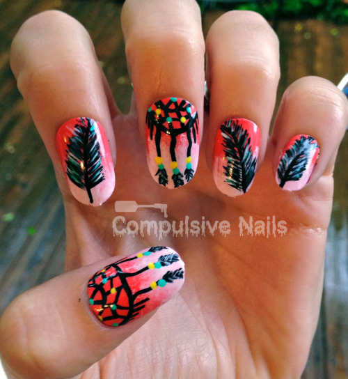 compulsivenails:  Dream catcher nails!! Available at www.etsy.com/shop/compulsivenails