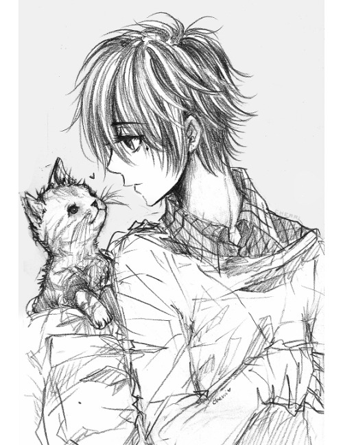 cherriuki:  zack and kitty ( ' v ' )