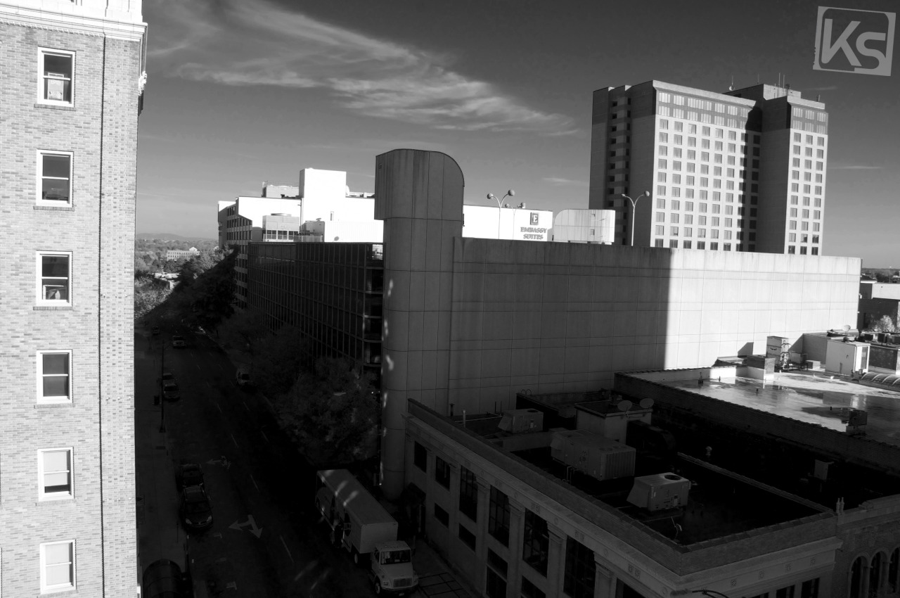 DownTown Winston-Salem, 4th & Marshall - Roof Top View (Black & White)