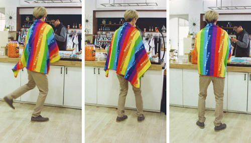 sehunnie approves the rainbow fashion ; ohdult is a childehun
