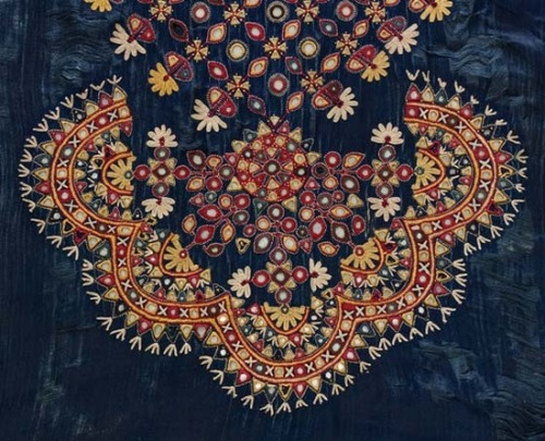 ornaments-of-the-world:  Silk satin embroidered with silk thread and mirror work Gujarat, India Circa 1880 Source http://pinterest.com/pin/264727284318261610/