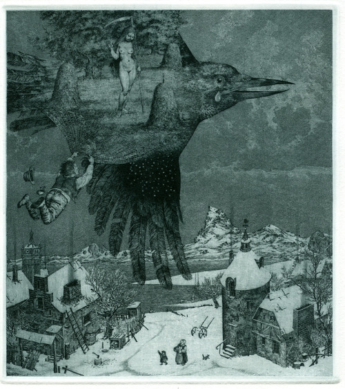 rolandscapes:  Hunting For Summer  © Konstantin Kalynovych Etching  the multi-worlds remind me of peter milton…