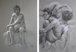 "Gesture and Figure Drawing, Mach 2008-March 2012. Soft pastel and charcoal on 19""x25"" colored paper. Short-pose from model, in pen on 7""x10"" paper."
