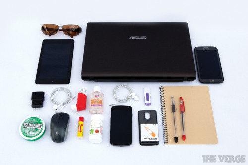 thisistheverge:  What's in your bag, Justin Rubio? What's in your bag? is a recurring feature where we ask people to tell us a bit more about their everyday gadgets by opening their bags and hearts to us.  This week, we're featuring Justin Rubio. When preparing for big shows like CES, Google I/O, or any of Apple's many events, it's far too easy to come under-prepared — so I make sure to bring everything I could possibly think of in terms of electronics and, most importantly, hygiene. This usually consists of a couple of phones, lots of cables and chargers, my trusty laptop, and hand sanitizer (to fend off epidemics like the Vergeflu).