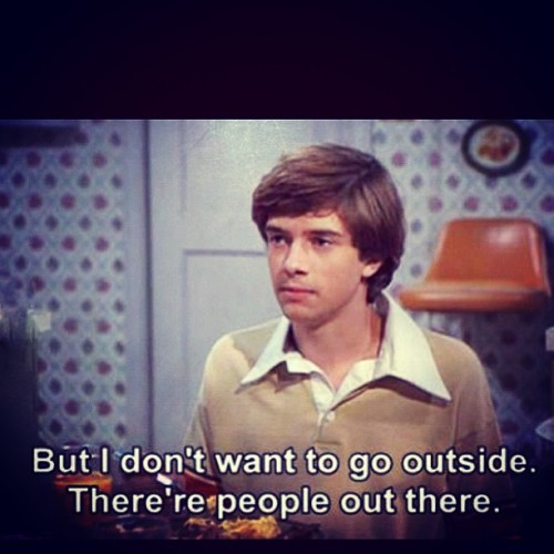 This is how I feel everyday when I get into my car to go anywhere. #TrueStory #PeopleScareMe #Loner #Meme #that70sshow #Lol #funny #lmao (at Hell's Parking Lot)