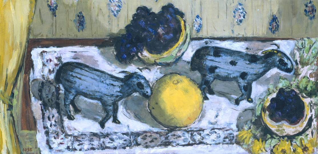 Marie-Louise Von Motesiczky: Still Life with Sheep (1938)  Still Life with Sheep' was painted in a small hotel in Amsterdam. The artist had travelled to Amsterdam with her mother from their home in Vienna, immediately following the arrival of the Germans in Austria in 1938. Eventually the artist settled in England. In this still life, she posed the objects, including two eighteenth-century Chinese cloisonné sheep and some fruit, on an ironing board in the hotel, with the ironing board dictating the unusual oblong shape of the painting. Aside from the sheep, objects whose reassuring familiarity reminded the artist of her Viennese surroundings, this unusual still life is characterised by the rich colours of the grapefruit and by the bunch of grapes.