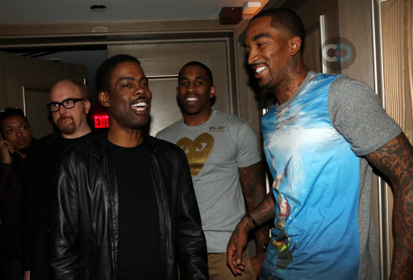 In other J.R. Smith related news, here is a photo of Louis C.K., Chris Rock, and Earl Joseph Smith III himself (wearing the JAWS movie poster??) hanging out at the 40/40 club last week during Rihanna's after party. One can only hope they are discussing a possible Pootie Tang sequel with J.R. as Pootie Tang's long lost cousin. (via)