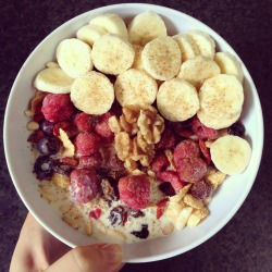 cleanbodyfreshstart:  Breakfast after yoga { organic corn flakes, puffed rice, sultanas, goji berries, cinnamon, homemade seed mix, flaxseed meal, banana, blueberries, raspberries, walnuts with soy milk }