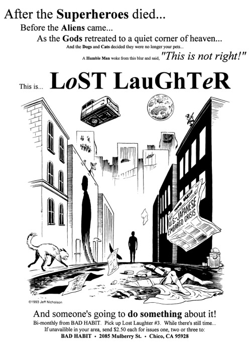 Promotional ad for Lost Laughter by Jeff Nicholson, 1993.