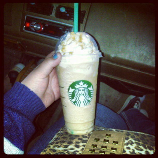 A venti caramel frappuccino to cheer myself up from this horrible haircut…