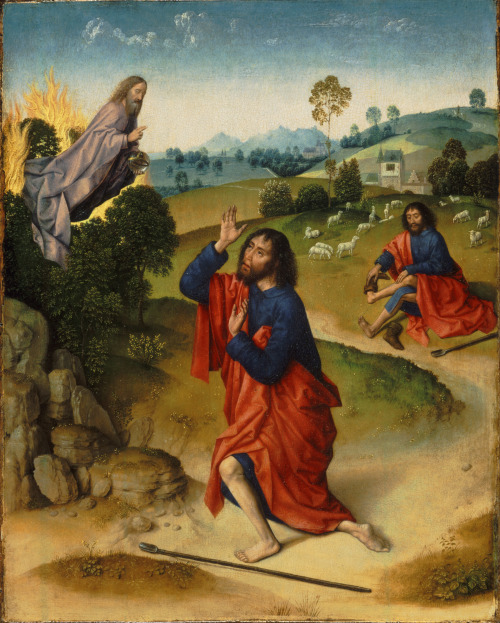 Dieric Bouts the Elder (Attributed) - Moses and the Burning Bush, with Moses Removing His Shoes; Philadelphia Museum of Art, Pennsylvania, USA; c.1465 - 1470