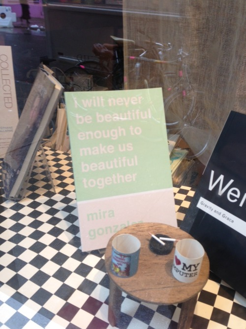 sorryhouse:  i will never be beautiful enough to make us beautiful together in the front window of mcnally jackson bookstore in nyc