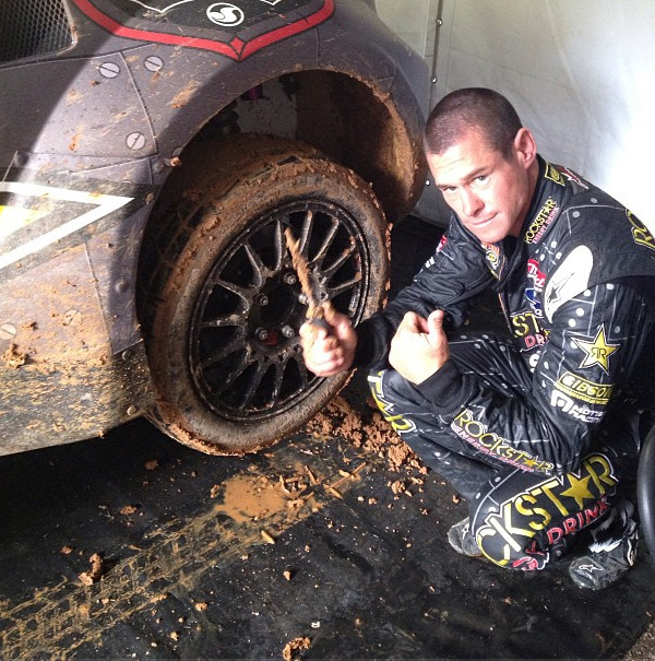 Tracks so muddy! They delayed the race a bit so it doesn't become@globalrallyx destruction derby haha.