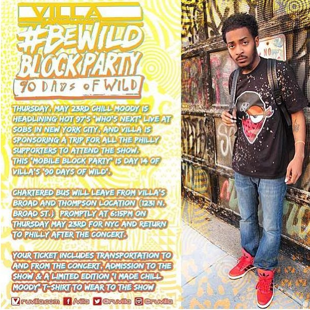 "Repost this flyer with the hashtags #Nicethings #MobileBlockParty #Ruvilla for a chance to win 2 tickets to @chillmoody show @ #SOBs in #NewYork tomorrow as he headlines for @Hot97 Who's Next Show. Ticket includes transportation there & back(philly2NY), admission to the show & a limited edition ""I Made Chill moody"" t shirt. #chillmoody #philly #philadelphia #90daysofwild #NYC #thecoalition #kingsruletogether #KRT www.chillmoodysobs.eventbrite.com"