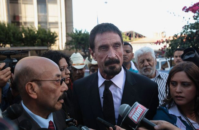 John McAfee states his alibi on record, buys a new suit and talks to reporters in Guatemala.