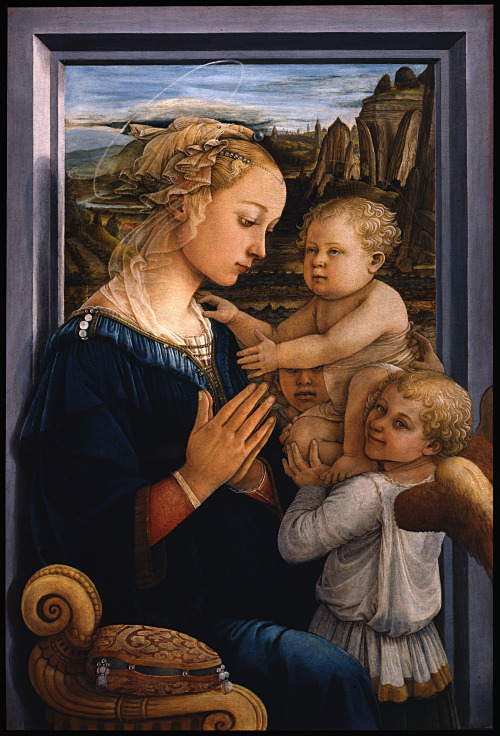 Fra Filippo Lippi - Madonna col Bambino e Due Angeli (Madonna and Child with Two Angels); Galleria degli Uffizi, Florence, Italy; c.1460 - 1465