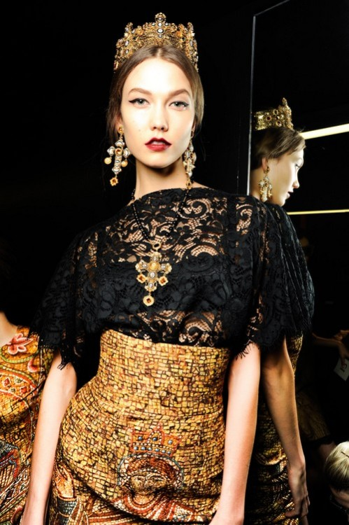 Karlie Kloss backstage at Dolce & Gabbana Fall 2013 in Milan.