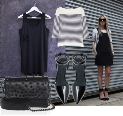 Croft dress: Black & Stripes por madaboutbasics con j crew shirtsJ.Crew j crew shirt / Alexander Wang  shoes / Kurt Geiger studded handbag, $150
