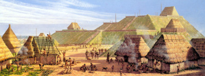 "fairytalesinred:  ""[In the background is] Monks Mound, Cahokia. It is 100 feet tall and covers 14 acres. The Emergent Mississippian Period (ca. 800-1000 A.D.) saw a state-level society exploiting the rich agricultural resources of the Great Bottom (Missouri and Mississippi River confluence). Ultimately, the city's commercial and cultural impact was felt from the Great Lakes to the Gulf Coast, and from Oklahoma to the Atlantic Coast. Cahokia's rulers governed from a temple atop this mound. Cahokia's population in 1050-1150 A.D. was likely to have been 10-20,000, much larger than Paris at the time, one of Europe's major cities. It declined in 1200-1400 A.D."" — Mississippian Civilization (900-1750 A.D.): Cahokia"