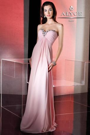 Alyce 35505 is a long empire chiffon that has a sweetheart bodice. When we gaze into the eyes of an Alyce, we knew that beauty could capture the soul. We knew that beauty would awaken through Alyce 35505 and here you are standing before us. We can appreciate you and you can feel appreciated. We can hold you with gentle care and set you off in the night. We love you Alyce! Reblog if you would wear this fabulous gown!