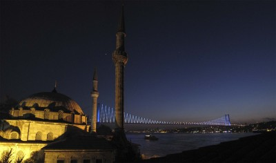 Pic from our hotel balcony on the asian side of Istanbul on Monday night..they were filming a Turkish soap opera in the lobby, so we were kindof trapped in our room for most of the night (when not nerdily spying on them).
